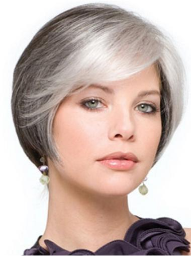 Synthetic Straight Fabulous Grey Wigs