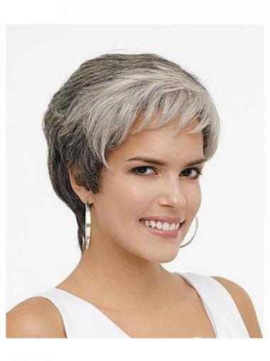 Short Wavy Best Grey Wigs