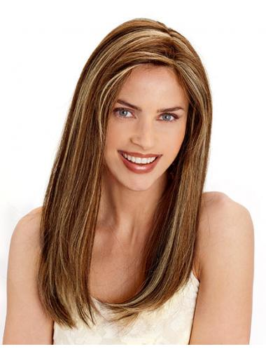Straight Brown Layered Cheap Human Hair Wigs