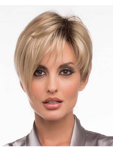 Straight Blonde Layered Beautiful Short Wigs,