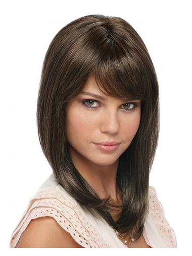 Straight Brown Layered Designed Glueless Lace Wigs