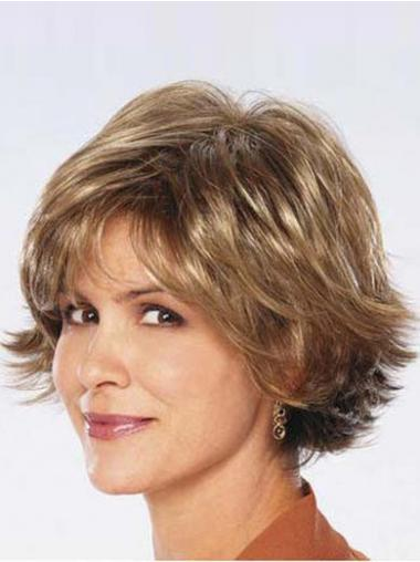 Wavy Brown Layered Fashionable Synthetic Wigs
