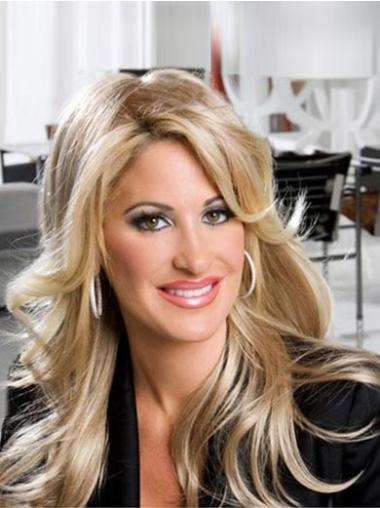 Blonde With Bangs Wavy New Kim Zolciak wigs