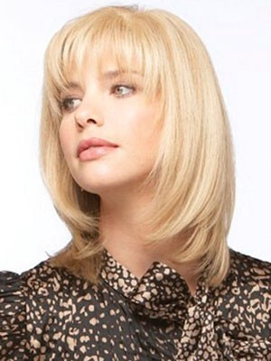 Straight Blonde With Bangs Fashionable Medium Wigs