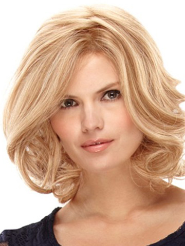 Blonde Layered Curly Sleek Medium Wigs